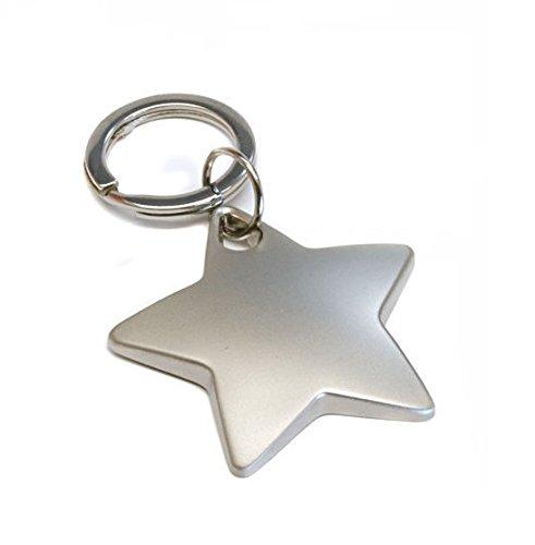 Personalised Chrome Star Keyring Engraved Free