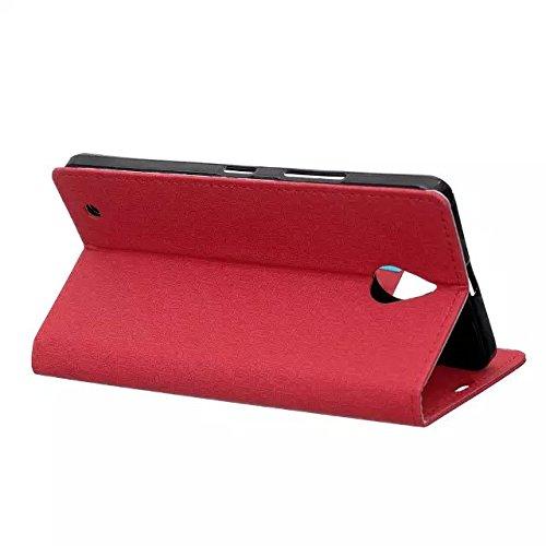 Nokia Lumia 650 Case, Labyrinth Pattern Beschaffenheit PU-lederner Fall Normallack-Kasten Magnetischer Closer mit Halter Karten-Schlitze + weiches Silikon-rückseitige Abdeckung für Microsoft Nokia Lum Red