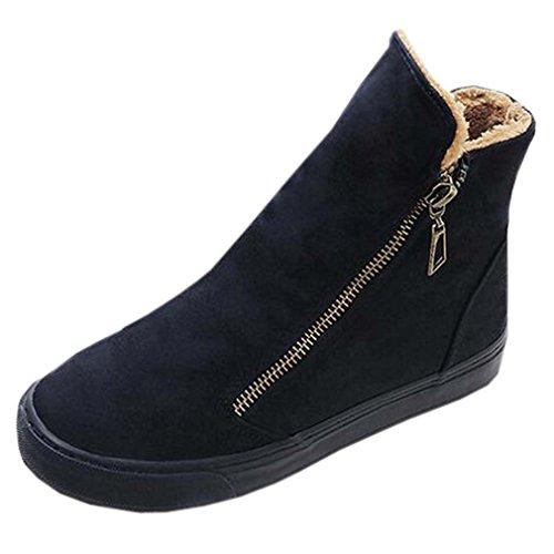 Solshine Damen Wildleder Sportliche Flache Warm Gefütterte Sneakers Kurzschaft Stiefel Stiefeletten (Damen-wildleder-kalt-wetter-stiefel)