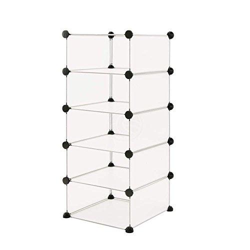 Armario organizador modular de 5 cubos de 17x35cm plástico blanco