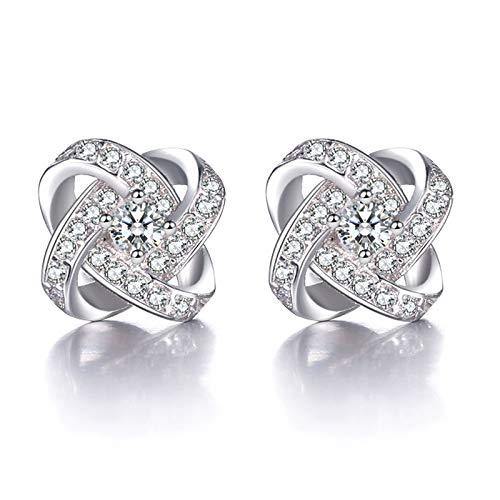 Diamond Ear Nail Girl Love Eternal Heart White Diamond Earrings Fashion Ear Jewelry Silver Needle Anti-Allergic (Hearts Schmuck Chrome)