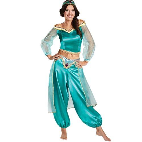 nihiug Aladdin Lampe Cos Halloween Erwachsene Cosplay Kostüm Kinder Masquerade Jasmin Prinzessin Laufsteg Kleidung Kürbis Retro Bühnenkostüm,AdultSection2-S