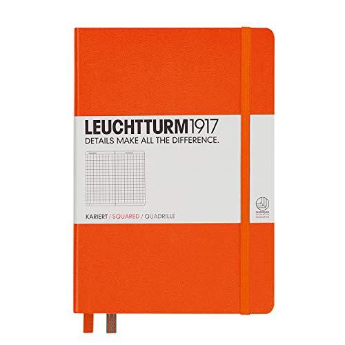 LEUCHTTURM1917 342935 Notizbuch Medium (A5), Hardcover, kariert, orange Orange Karierte