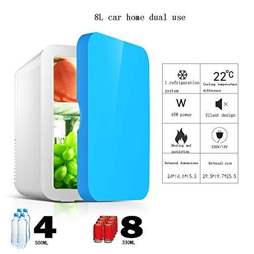 Xyanzi Mini-Kühlschränke Eintüriger Mini-Kühlschrank, Kleiner 8-l-Kühlschrank for Das Auto Elektrischer Kühler und Wärmer for Den Heimbüro-Wohnheim- Oder Boots-Netzkabel (Color : Blue)