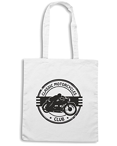 T-Shirtshock - Borsa Shopping TB0273 grunge rubber stamp with the words classic motorcycles club inside Bianco