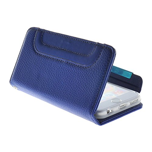 MOONCASE Wrist Strap Multi Purpose Coque en Cuir Housse de Protection Étui à Portefeuille rabat Case pour Apple iPhone 6 ( 4.7 inch ) Blanc Bleu