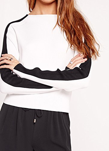 Bigood Femme Pulls Tops Sweat-shirt Chemise Col Rond Slimmer Blanc