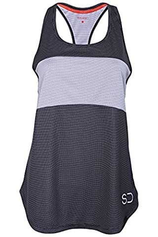 Womens Sports Vest Yoga Wear by Sundried® Sleeveless Racerback Training and Gym Tank Top (Medium, Dark