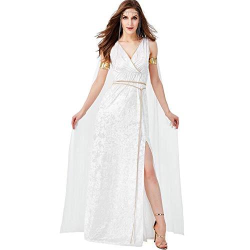 Ms.Feiya Halloween Frauen griechische Göttin Kostüm Erwachsenen V-Ausschnitt Split Maxi-Kleid sexy ärmelloses langes weißes Kleid