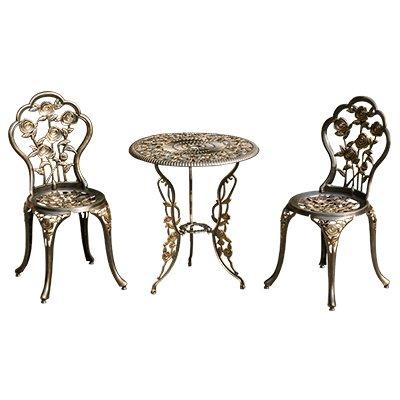 Balcone in tre pezzi per esterno in alluminio pressofuso a tavoli e sedie da giardino in ferro battuto tavolino combinazione Sedia e tavolo,Set di 3 di bronzo