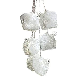 Allsop Home and Garden Aurora Glow Handblown Glass Solar String Lights, (6) Hand-Blown Artisan Globes with Copper Hanging Hooks, Weather-Resistant for Year-Round Outdoor Use, (White Diamond)