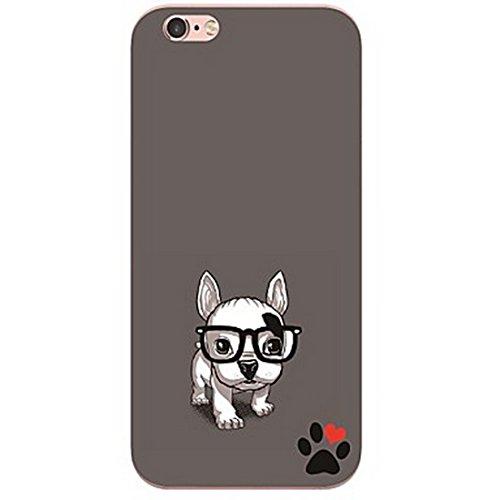 SecondDromi Niedliches Herz-förmiges Tatzen-Dichtungs-Augen-Hundemuster-Silikon hülle für iPhone 7 (4,7