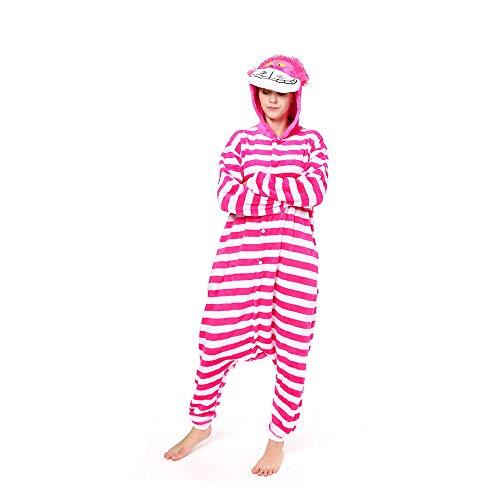 nisex Anime Cosplay Outfit Kostüm Pyjamas Strampler Kleidung/Halloween Cosplay Kostüm (Cheshire Cat),Natural,XL ()