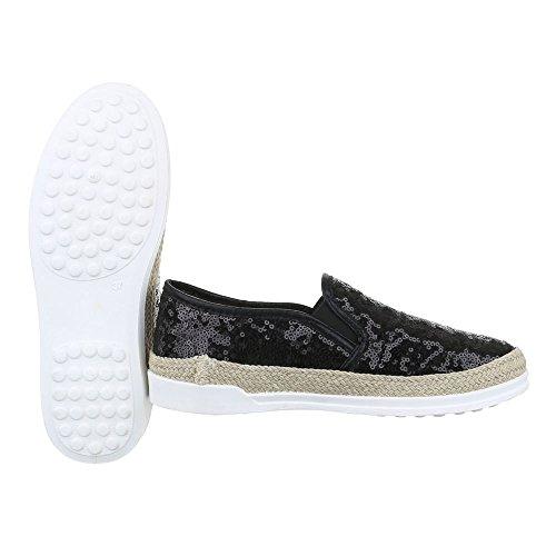 Slipper Damen Schuhe Low-Top Pailetten Deko Ital-Design Halbschuhe Schwarz 50701