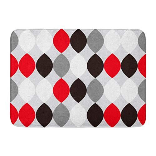 ghkfgkfgk Doormats Bath Rugs Outdoor/Indoor Door Mat Gray Leaf Mid Century Modern 1950S Vintage Retro Atomic Pattern Red 1940Sstyle Bathroom Decor Rug 23.6 x 15.7 Inch -