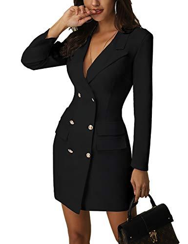 MISOMEE Damen Solid Langarm V Kragen Zweireiher Anzug Blazer Kleid Schwarz L