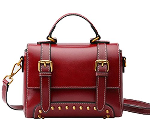 GKKXUE Damen Leder Tasche Vintage Leder Schulter Messenger Bag Europa und Amerika Mode kleine Tasche (Farbe : Rot) - Europa-messenger Bag