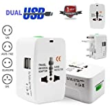 Brand Conquer Universal Travel Adapter with Built-in Dual USB Charger Ports 100-240V Surge/Spike