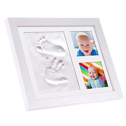 Bébé Cadre photo à la main et empreinte kit/simple et facile d'utilisation Imprint kit, non toxique et/cadeau de naissance et souvenir/Moulage de main et pied avec doux Argile/Excellent Cadeau de Baby Shower, cadeau de baptême ou un cadeau bébé personnalisé pour votre propre Little One–d'impression.