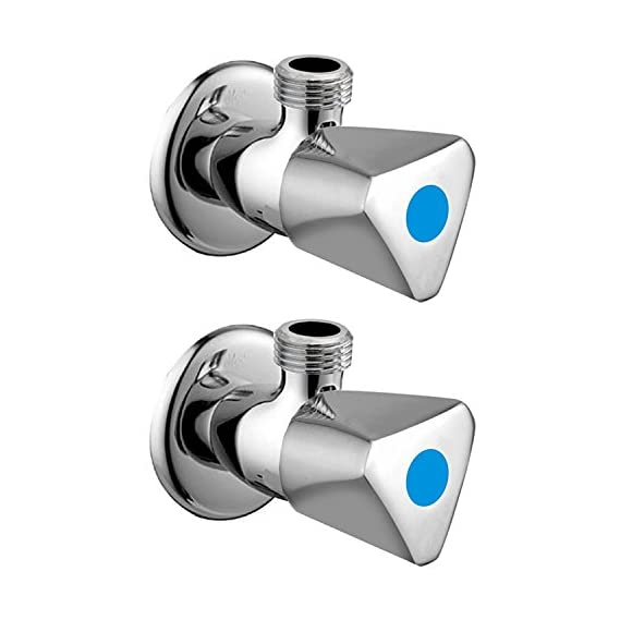 10x Angle Valve Noor Bathroom Faucets Taps and Faucet Angular Stop Cock Wash Basin for Geyser Tap, Medium, Chrome - Set of 2