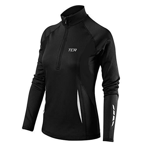 TCA Winter Run Damen Thermo-Laufshirt mit kurzem Reißverschluss - Langarm - Schwarz, S