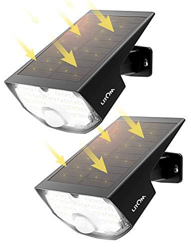 LED Solar Strahler, Mpow Solarlampen für Außen【Super Hell】, Solar LED-Außenleuchte,Solarleuchte mit 120°Bewegungsmelder,LITOM(Untermarke von Mpow) Solarlicht, 270°Weitwinkel,IP65 Wasserdicht - 2 Stück