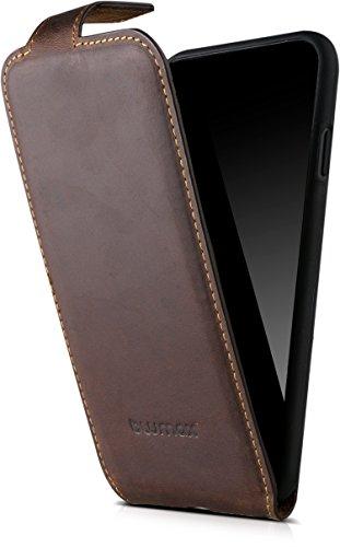 Blumax echt Ledertasche für iPhone 8-7 - 6-6s kabelloses Laden Qi - Tasche mit Magnet Antik Braun Leder Hülle