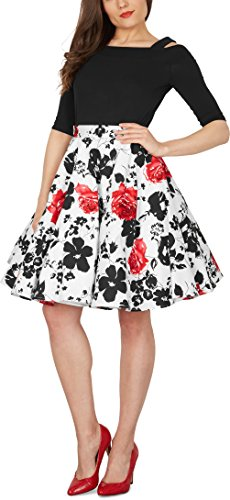 Black Butterfly Floral Rockabilly 1950er-Jahre Swing Tellerrock (Weiß und Rot, EUR 42 – L) - 4