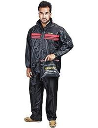 Newera Men's biker waterproof raincoat suit (Colour Raincoat Black Colour)