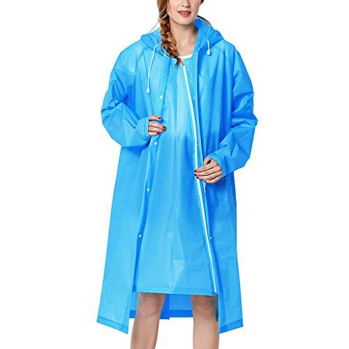 IZHH Mode Damen Regenjacke, Kapuze Transparente Eva Mantel Feste Taschen Winddicht Freien Outwear Wasserdichte Splice Windjacke Regen Zubehör für Camping und Reisen(Blau,X-Large)
