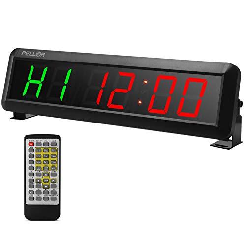 PELLOR Fitness Timer 2 Zoll Digitalanzeige Intervall Timer Multifunktionale Workout Gym Timer Wanduhr mit IR-Fernbedienung für Crossfit, Tabata, EMOM, MMA