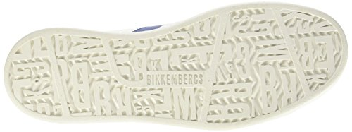 BIKKEMBERGS Herren Bounce 588 L.Shoe M Leather White/Blue Durchgängies Plateau Pumps, Bianco Elfenbein (White/Bluette)