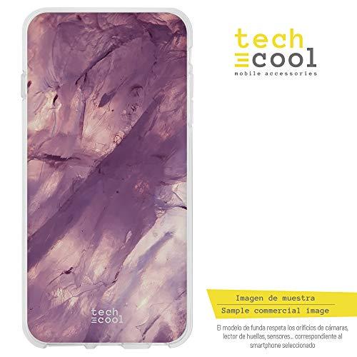 Funnytech BQ Aquaris X5 Plus Hülle SchutzHülle Soft TPU Silikon Transparent für BQ Aquaris X5 Plus l Case, Cover, Handy, High Definition Druck [Textura Cuarzo Rosa]