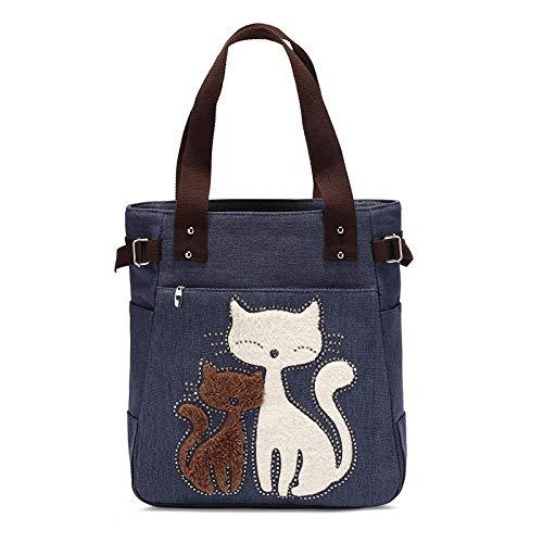 LFGCL Taschen womenShoulder Samt Leinwand Katzentasche Handtasche Einkaufstasche, Marineblau