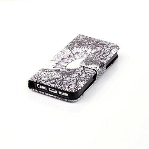 Per iPhone SE 5S 5 Custodia Litchi Skin Pu Portafoglio Protettiva in pelle per iPhone SE 5S 5 Bookstyle Flip Cover Stand Case, Vandot Elegante Fantastico 3D Disegno Libro Copertura Con Cordino Support style 10