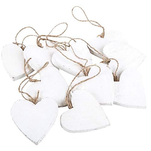 10bianco cuore di legno del pendente shabby chic bianco, 7cm, come decorazione per matrimoni, san valentino, compleanni e come albero di natale del pendente