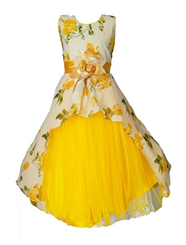 My Lil Princess Girls' A-Line Maxi Dress (Cute Pastel_Yellow_6-7 Years)