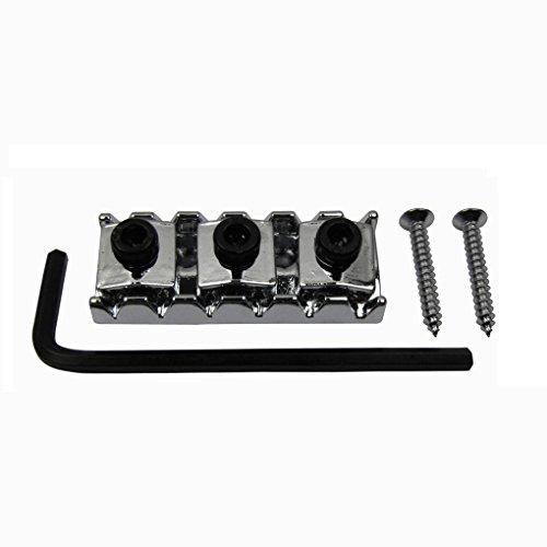 IKN 1 Set String Lock Einstellbare Sicherungsmutter für E-Gitarre mit Schraubenschlüssel, Chrom