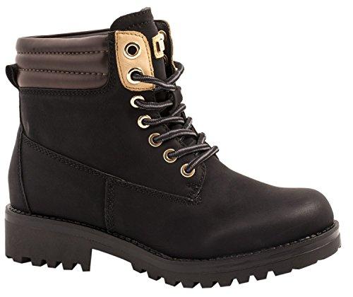 Elara Damen Stiefeletten | Profilsohle Schnürer | Worker Boots Schwarz 40