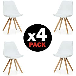 Duehome Pack de 4 sillas Artic, madera de haya, 48 x 55 x 84 cm, blanco