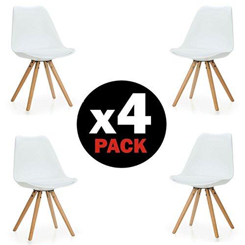 Duehome Pack de 4 sillas Artic, madera de haya, 48 x 55 x 84 cm, blanco, madera;piel