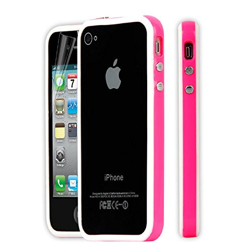 New Style Bumper Cover Jelly Case for Apple iPhone 4 4S amarillo-negro hot pink-white