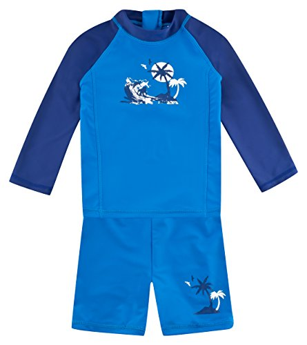 Landora: Baby- / Kinder-Badebekleidung langärmliges UV-Schutz 2er Set in blau/Marine, Größe 98/104