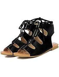 Beauqueen Bombas Sandalias Mujeres Primavera Y Verano Piso Hollow Lace Sandalias Mujeres Zapatos Casual Tamaño Especial Europa Tamaño 32-43 , black , 34