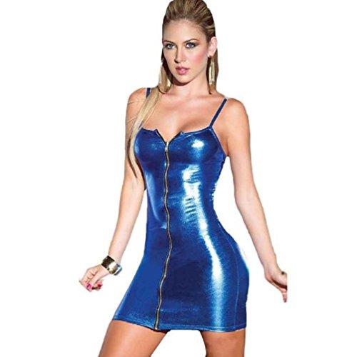 Bluester-Women-Sexy-Zipper-Camisole-lingerie-Jumpsuits-Clubwear-Stripper-Patent-Leather-Underwear