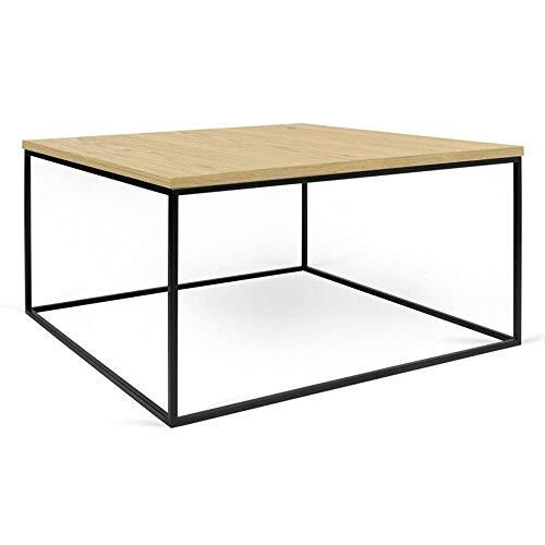 TemaHome Table Basse carrée Gleam 75 Plateau chêne Clair Structure laquée Noir Mat