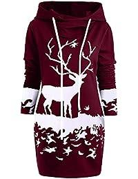 Yvelands Womens Christmas Sweatshirts Monocromo Reno Impreso Moda Hoodies Vestido Mini cordón