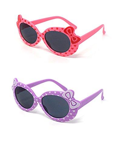 1 x Purple 1 x Pink farbige Kinder Girls stilvolle Designer-Stil Sonnenbrillen hohe Qualität mit einem Bogen und Herz-Stil UV400 Sonnenbrille Schattierungen UVA UV-Schutz