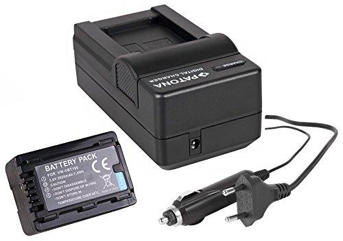 3in1-SET für die Panasonic HC-V160EG und HC-V180EG Camcorder --- PREMIUM Akku für VBT190 (2020mAh) + Schnell-Ladegerät für Digitalkamera / Camcorder incl. KFZ-Lader (12V) inkl. PATONA Displaypad Li-ion Camcorder-akku