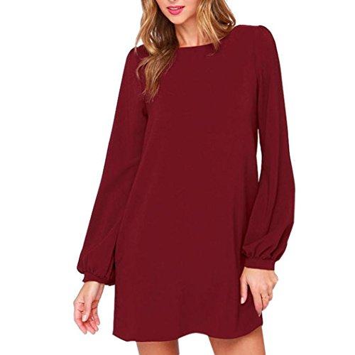 Xjp Frauen Casual Solid Rundhals Langarm Mini Kleid (XL, (Kleidung Designer Größe Plus)